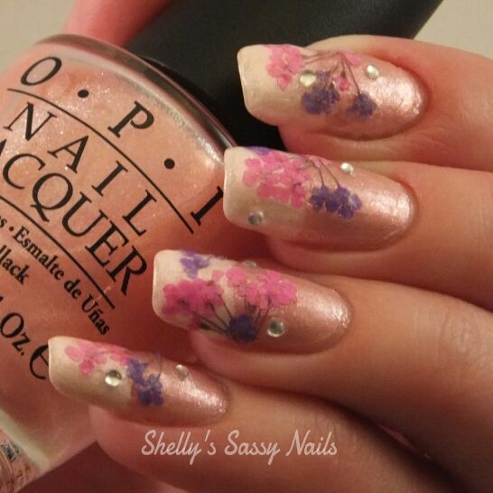 Real Dried Flowers Nail Art Nails Pinterest Flower Nail Art
