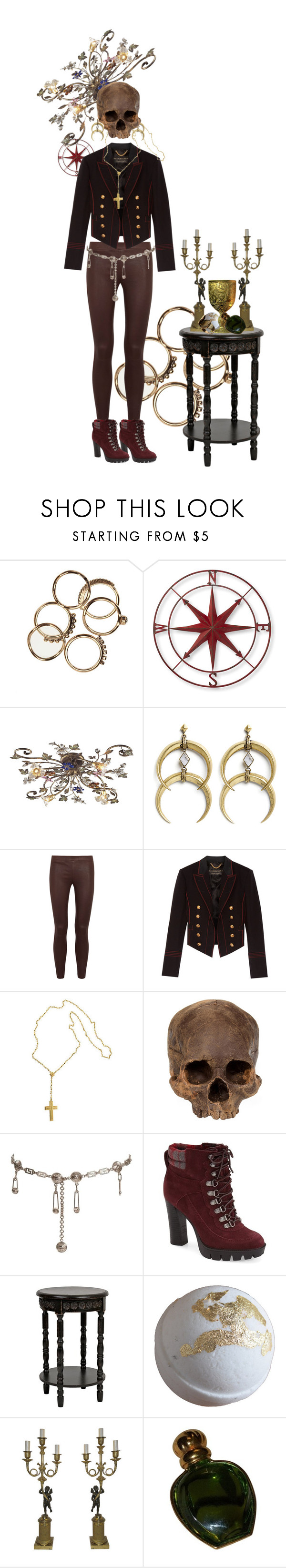 """""""88"""" by randallflag ❤ liked on Polyvore featuring Creative Co-op, ELK Lighting, A Peace Treaty, Vince, Burberry, Versace, Nine West and Christian Dior"""