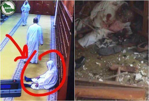 صورة لمسن يصلي لحظة دخول القباع المسجد قبل أن يلقى ربه شهيداً خلال التفجير http://www.watny1.com/297163.html