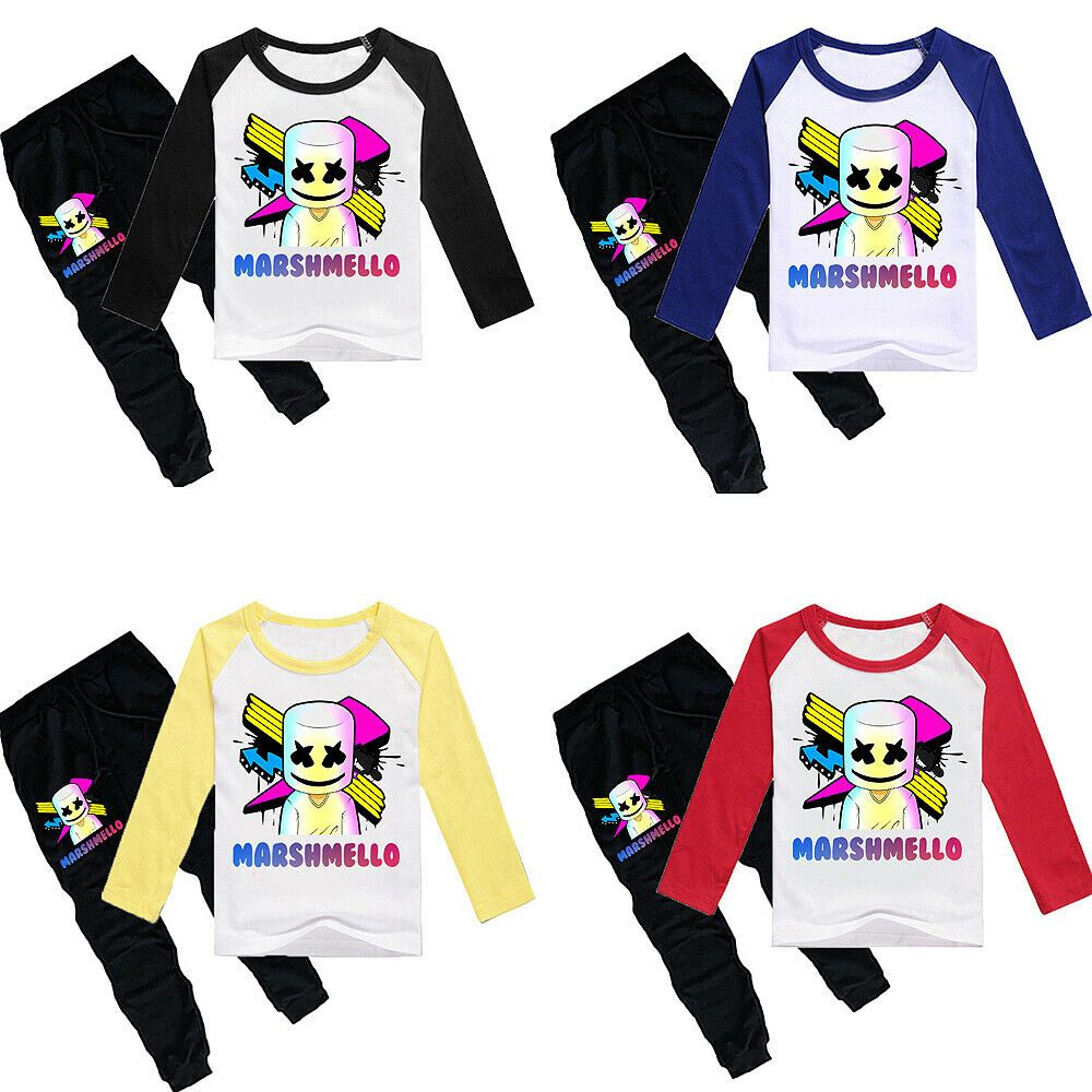 Marshmello Dj Party Boys Girls Kids Long Sleeve T Shirt Pants
