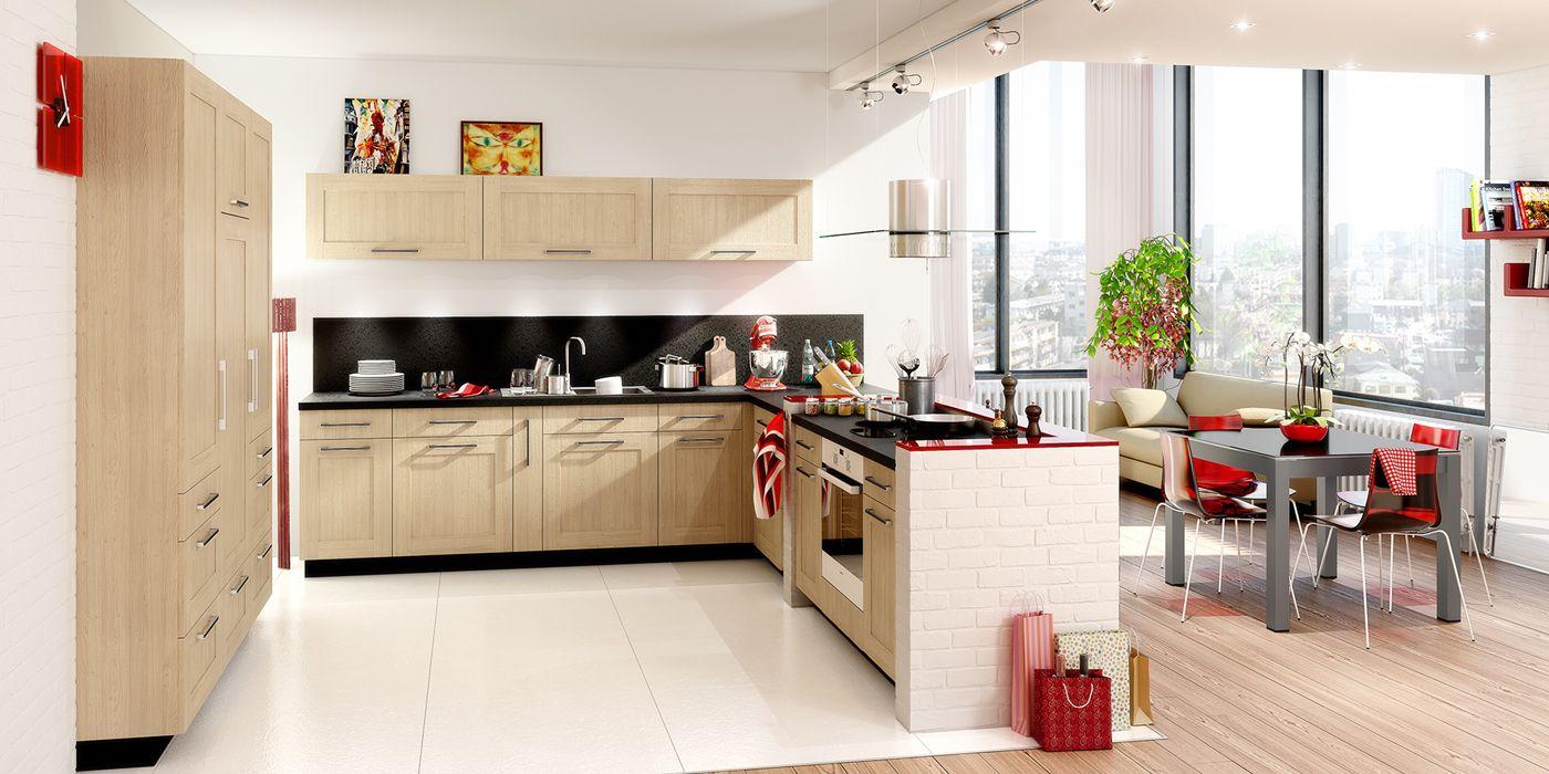 cuisine en l aspect bois. une cuisine ouverte en harmonie avec la