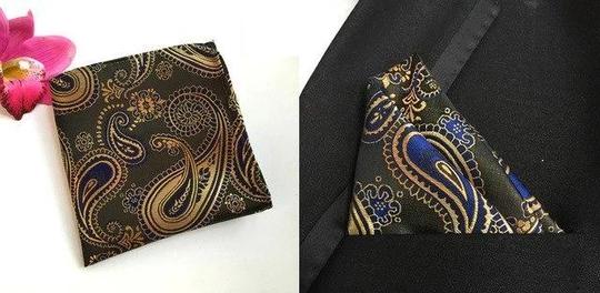 25cm Paisley Silk Handkerchiefs Woven Blue Gold Pocket Square Men's Business Casual Square Pockets Handkerchief Wedding Hankies #pocketsquares