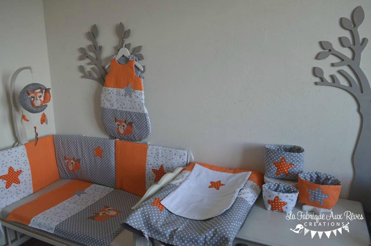 décoration linge lit bébé renard étoiles orange gris blanc