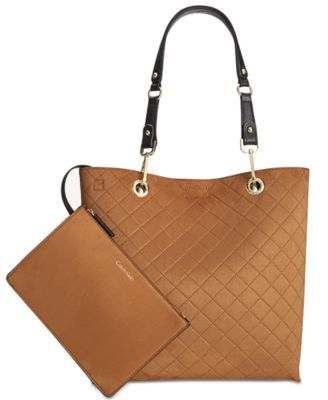 CALVIN KLEIN Calvin Klein Medium Reversible Tote With Pouch. #calvinklein #bags #shoulder bags #hand bags #suede #tote #