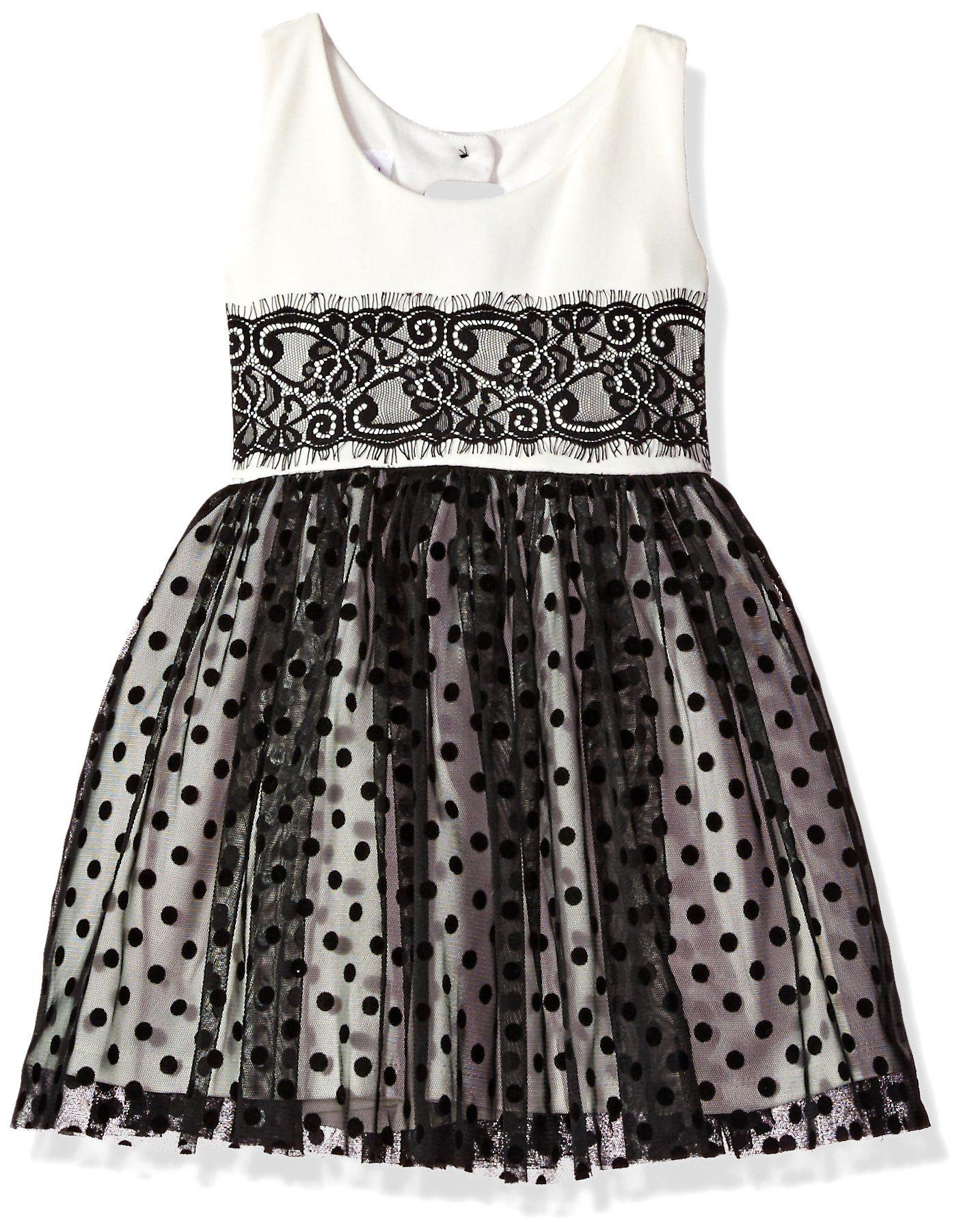 Bonnie Jean Toddler Girls Little Lace Party Dress Black White 3t Scuba Waistline Dress With Lace Panels Polka D Lace Party Dresses Waistline Dress Dresses [ 1803 x 1406 Pixel ]