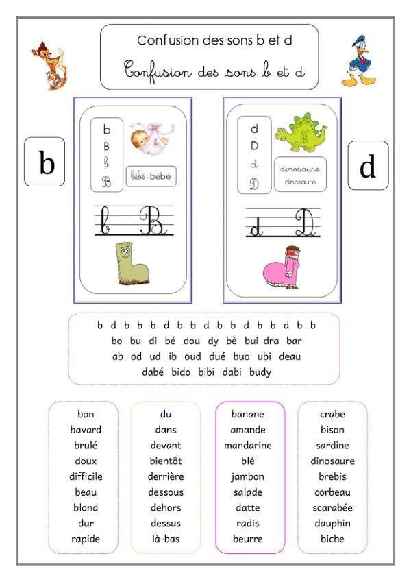 fiche memo de remediation sur les confusions des sons b et d ce1 cp et cycle 2. Black Bedroom Furniture Sets. Home Design Ideas