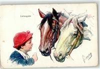 1915 Künstlerkarte Feiertag, K. Liebesgabe Pferd Kind