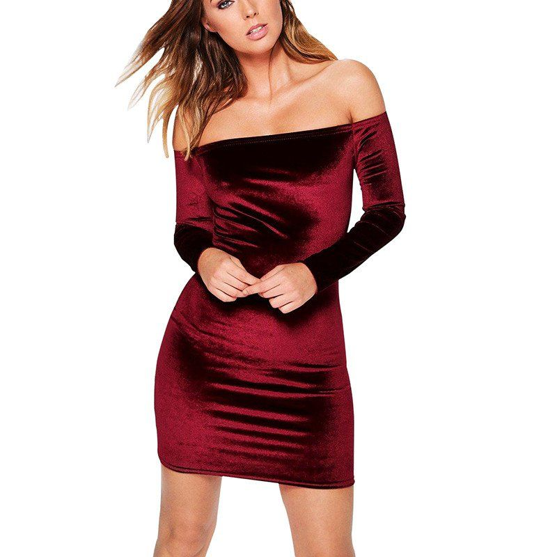 2e59dda6de9e Sexy Off Shoulder Wine Red Velvet Sheath Dress Women Winter Party Long  Sleeve Elegant Pencil Bodycon Ladies Dress Vestidos