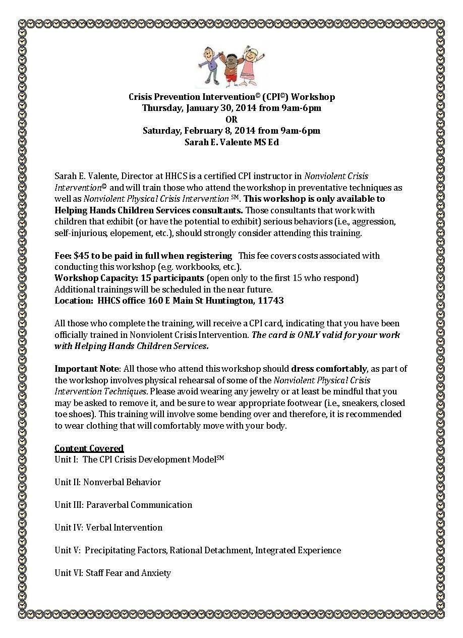 Register For Cpi Training Now Upcoming Workshops Pinterest