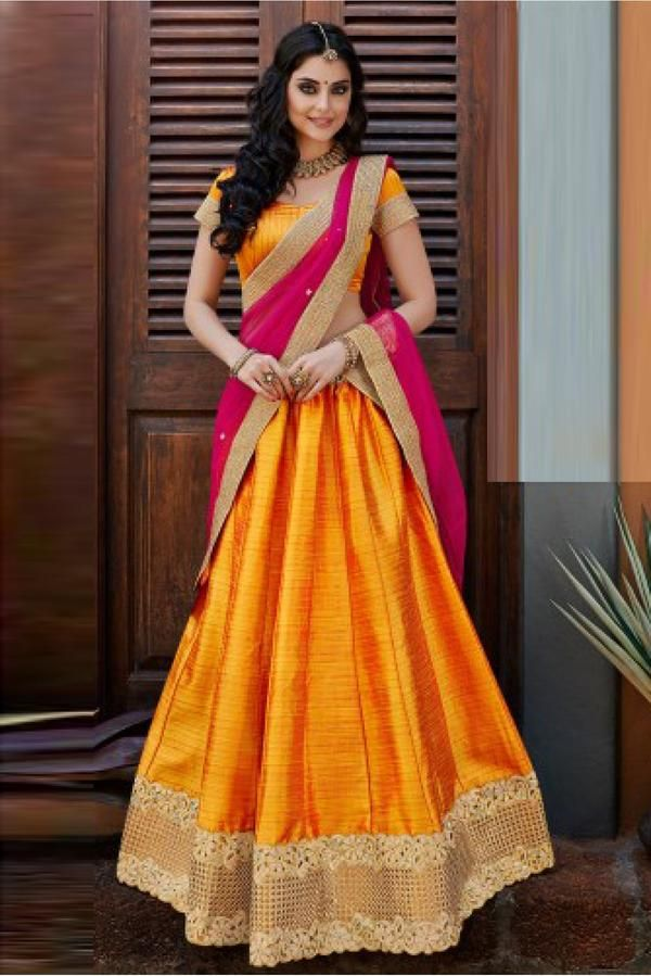 2ae826a863 Net and Bhagalpuri Party Wear Lehenga Choli in Yellow Colour.It come with  matching Duapatta and Choli.It is crafted with Lace Work. -www.cooliyo.com