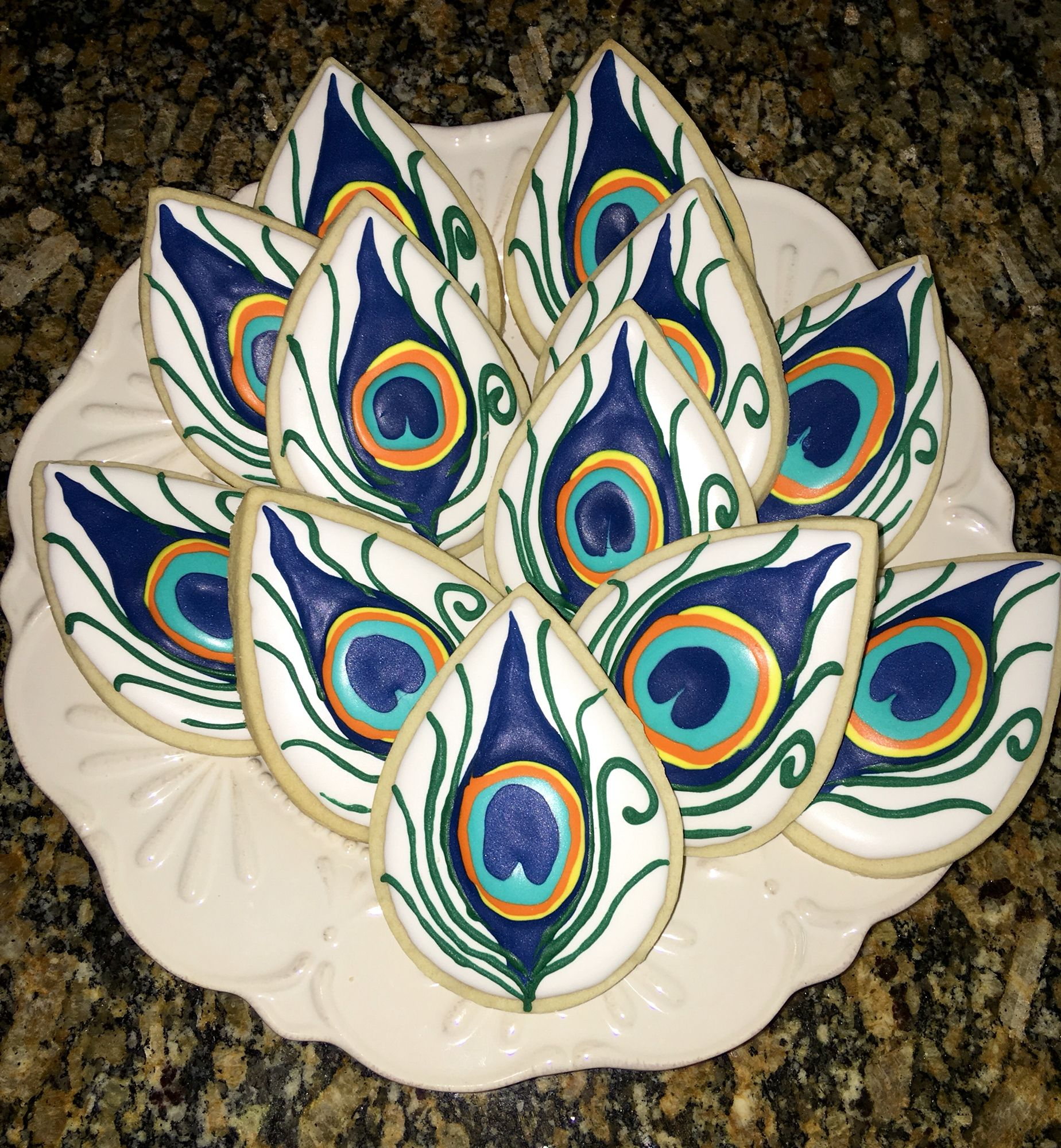 Peacock Feather cookies, for a wedding reception | Wedding Cookies ...