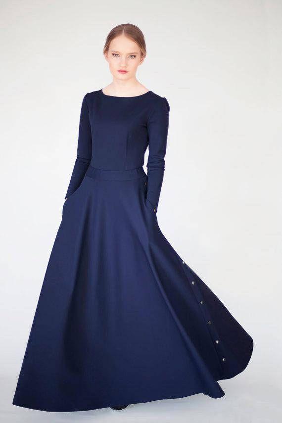 Long Skirt - Long Skirt for Women - Maxi Skirt - Blue Long Skirt ...