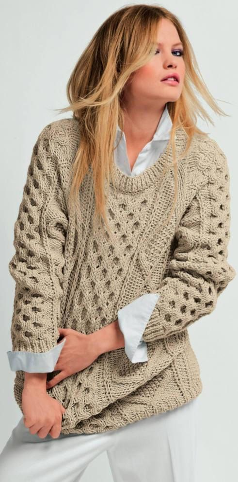 87be8e28fcf7 Made To Order Ivory Handmade Knit Aran Irish Fisherman Wool cables PULLOVER  SWEATER