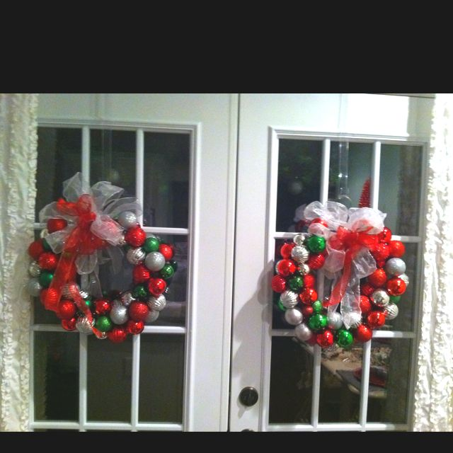 Shatterproof Bulbs From Goodwill Plus Wire Coat Hangers Plus Walmart Ribbon Equals 8 Worth Of Christmas Wreaths Holiday Decor