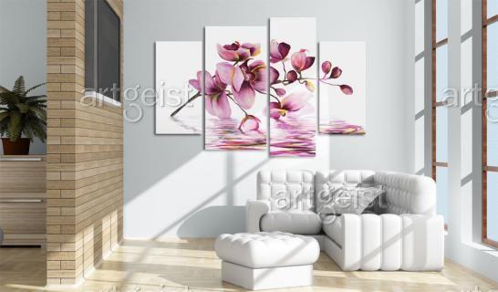 cuadro moderno orqudeas en el espejo de agua