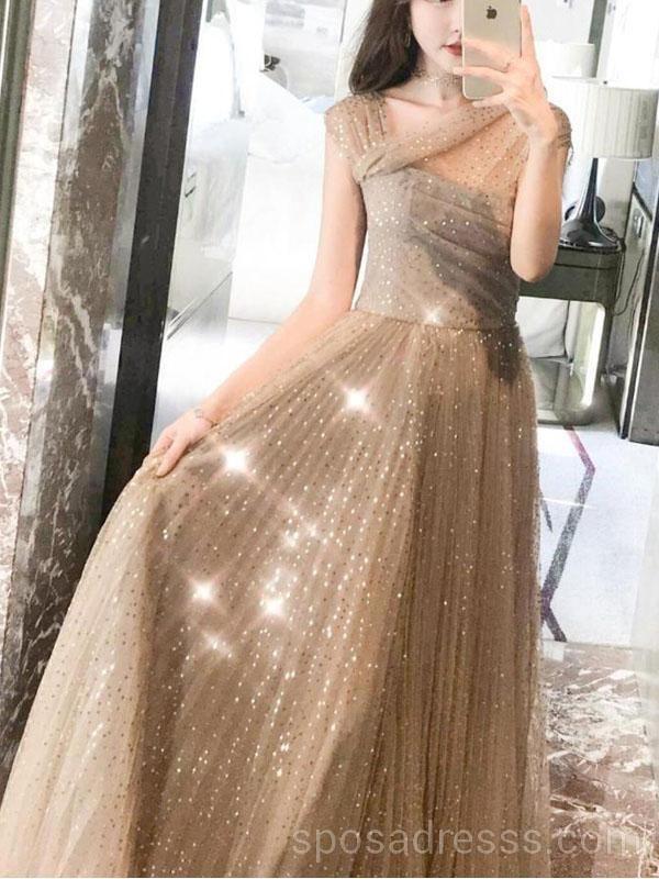 02cf37af619 Off Shoulder Sparkly Gold A-line Long Evening Prom Dresses