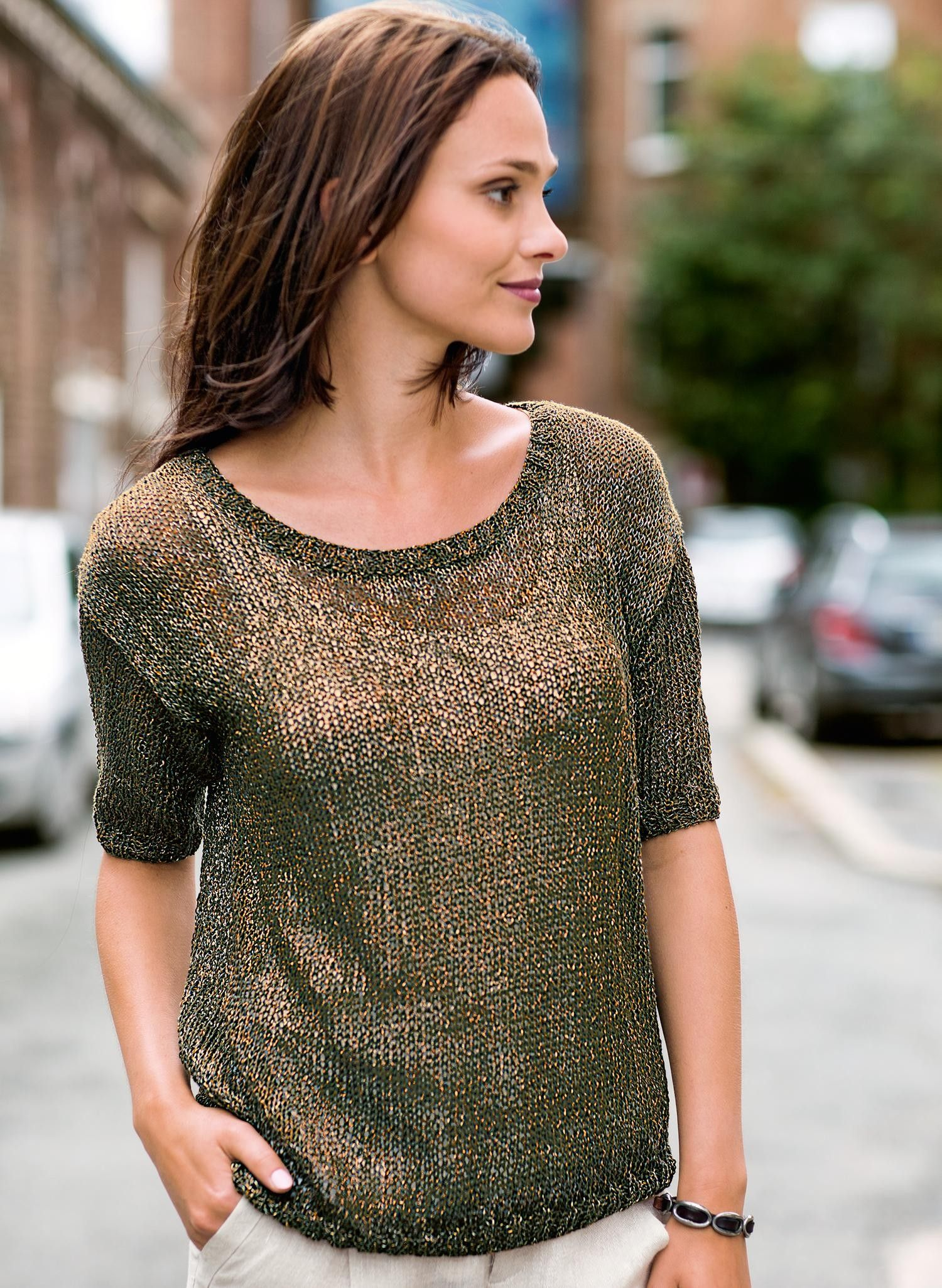 Free Knitting Pattern for a Round Neck Short Sleeve ...