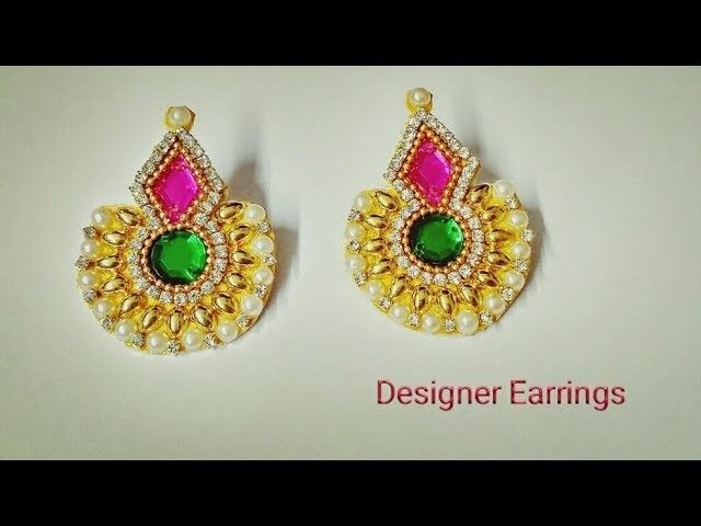 How To Make Designer Earrings How To Make Paper earrings at home