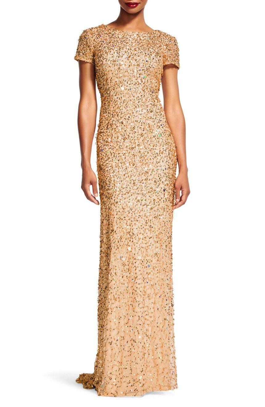 f532b28b2e2 Adrianna Papell Short Sleeve Sequin Mesh Gown