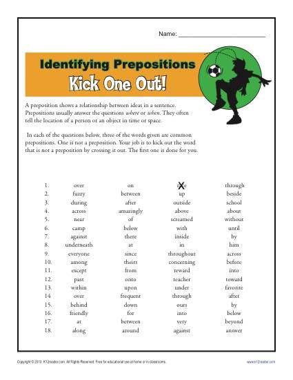 Preposition Worksheet Identifying Prepositions Prepositions Preposition Worksheet Preposition Worksheets Prepositional phrases worksheets middle