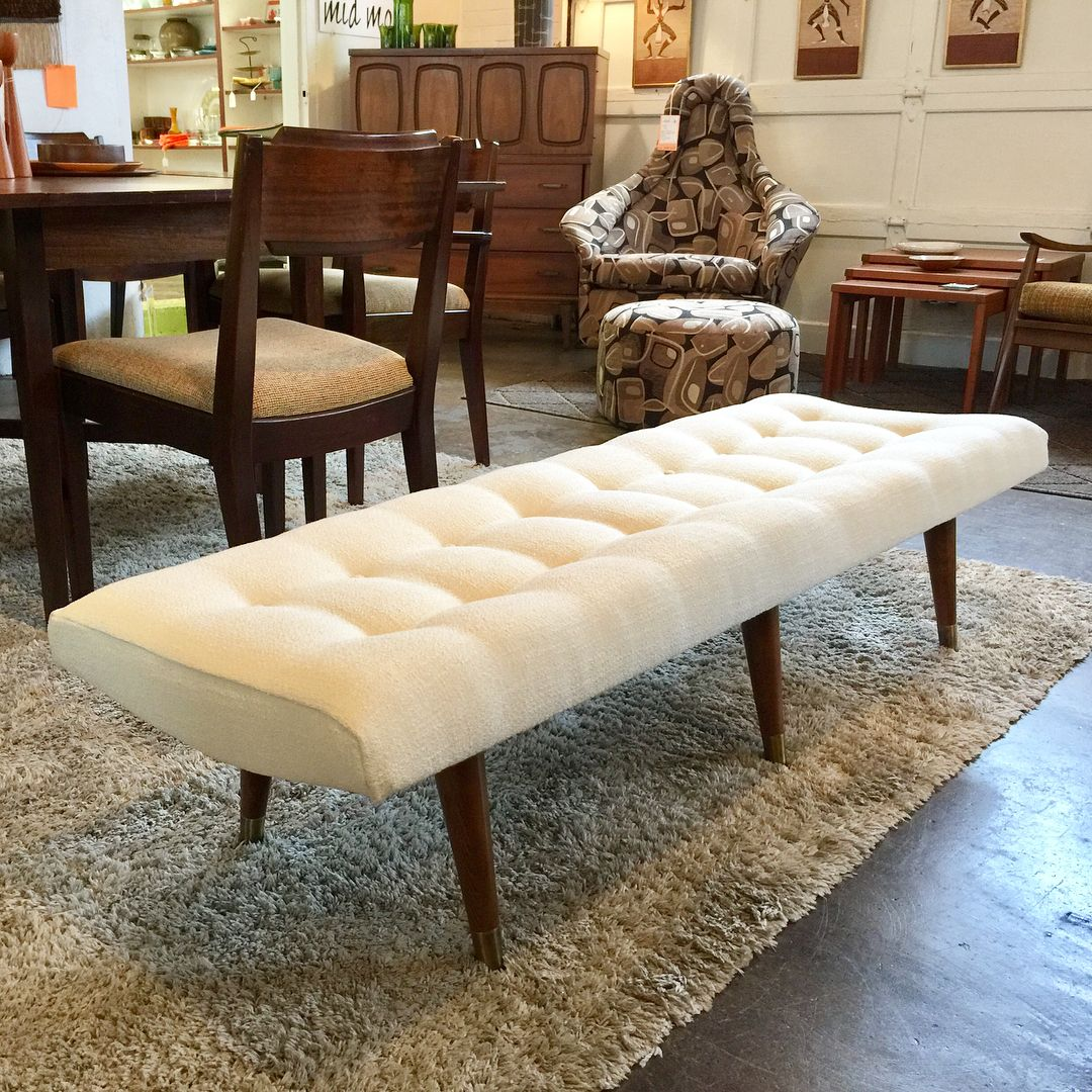 Oooh La La Fantastic Tufted Mcm Bench New Upholstery And Classic Taper Legs This Will Be Perfect At The End Of A Bed Or In An Mcm Bench Classic Taper Bench