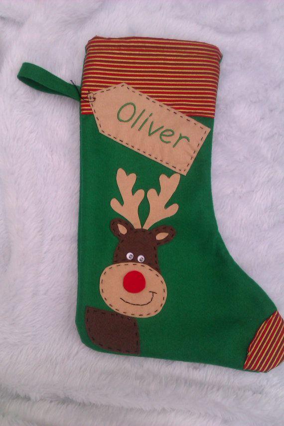 Personalized Christmas Stocking Handmade Green