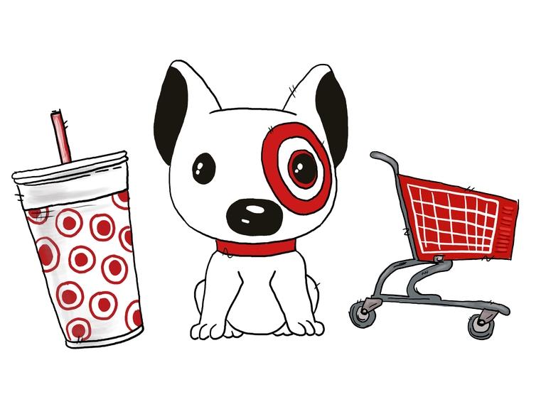 Target Dog Target Store Shopping Dog Store Digital Watercolor