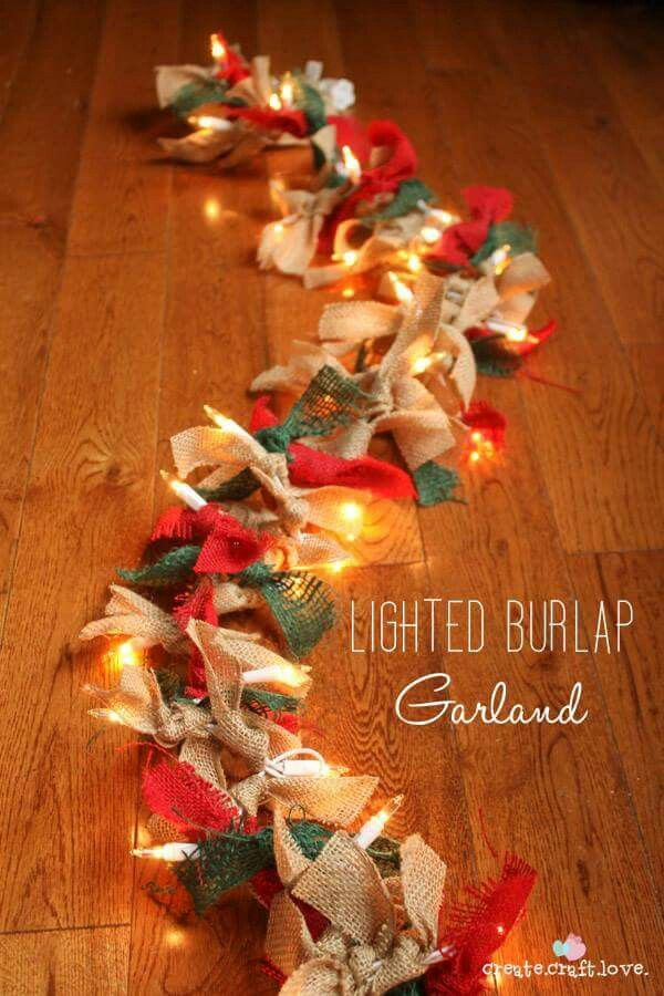 Lighted burlap garland. So making this Christmas - Lighted Burlap Garland. So Making This Christmas Christmas
