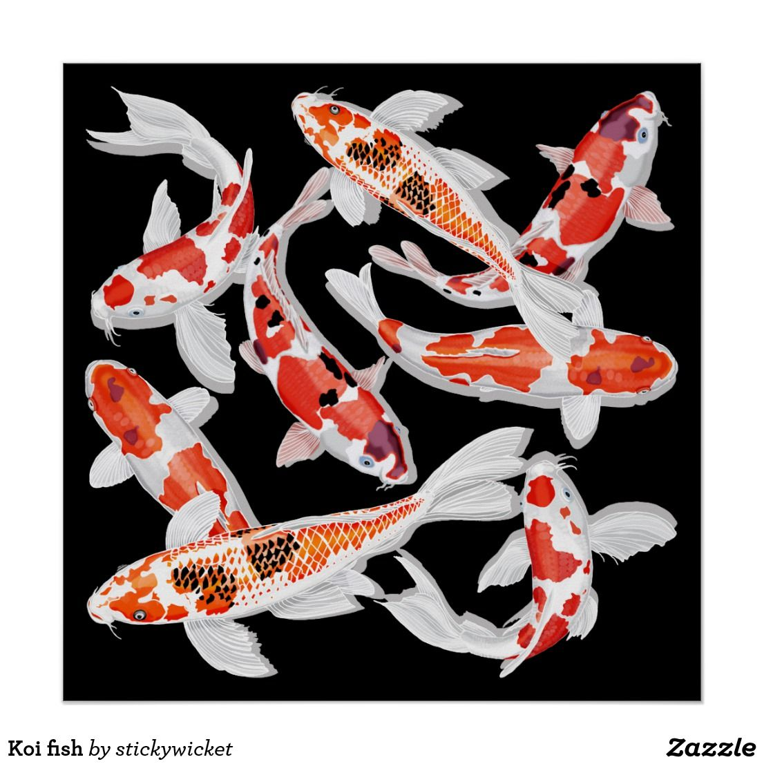 Orange Black And White Koi Fish Print Black Koi Fish Koi Fish Colors Koi