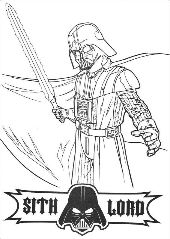 Darth vader with a laser sword coloring page free star wars coloring pages available for printing or online coloring you can print out and color this