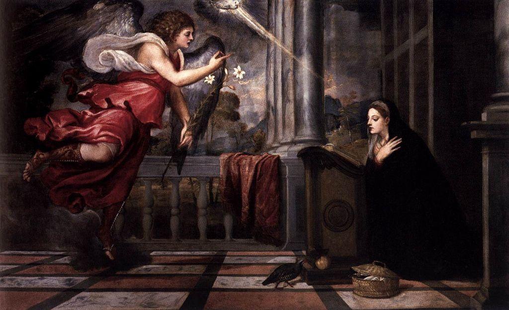 TIZIANO Vecellio - Annunciation  VTIZIANO Vecellio. (b. 1490, Pieve di Cadore, d. 1576, Venezia). . Annunciation. c. 1535. Oil on canvas, 166 x 266 cm. Scuola Grande di San Rocco, Venice.
