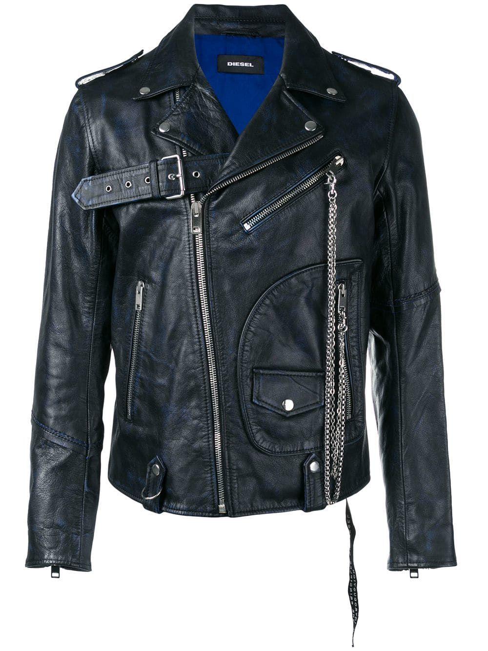 Diesel Leather Biker Jacket W Studs In 8cr Blu Modesens Jackets Men Fashion Jackets Casual Outerwear [ 1334 x 1000 Pixel ]