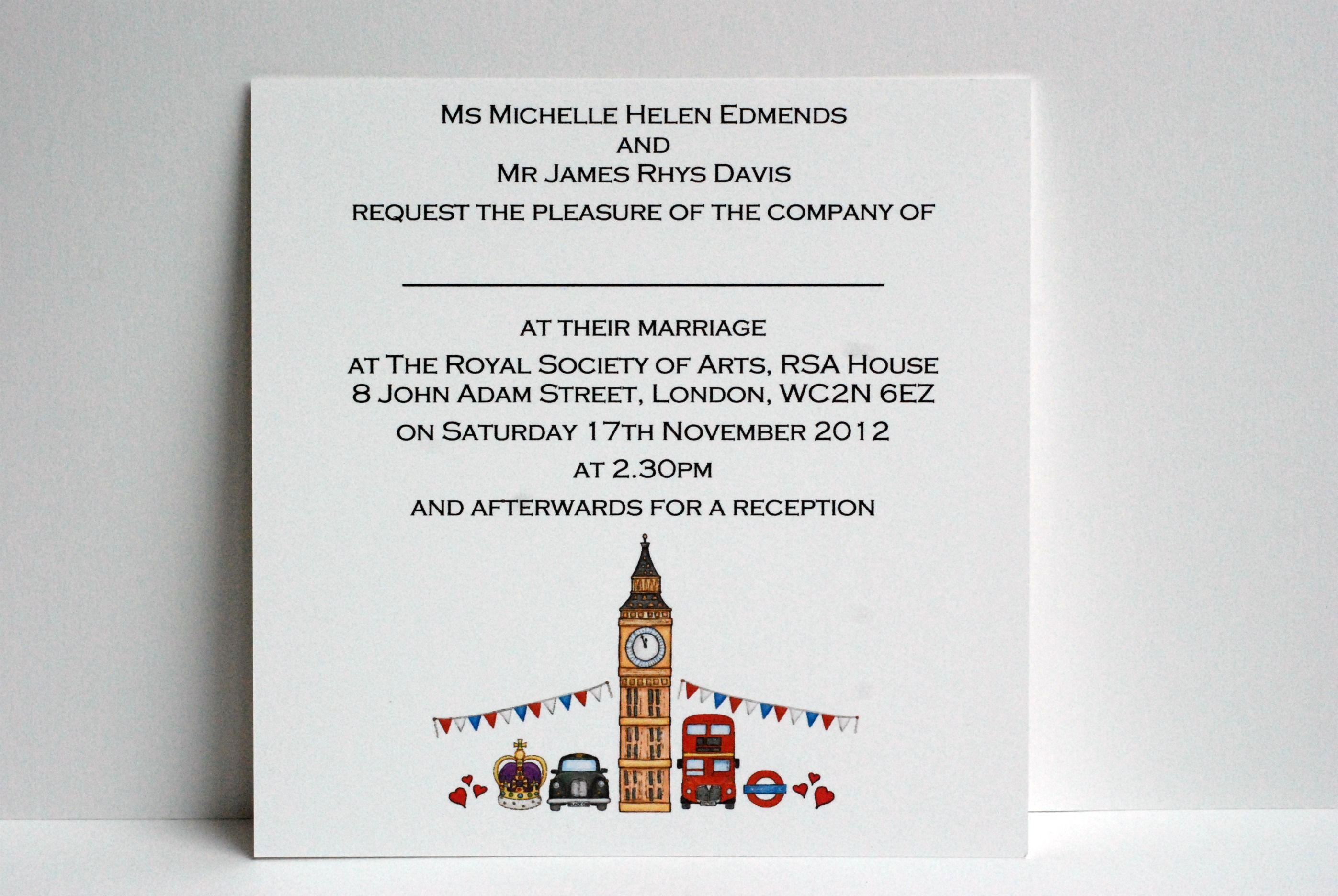 London Flat Wedding Invitation £1.25 www.beadazzledesigns.co.uk ...