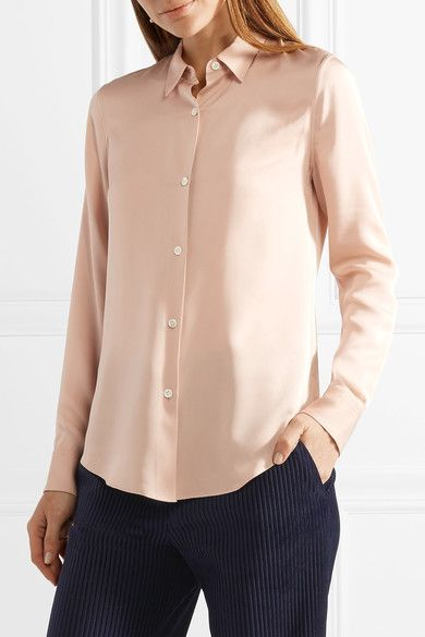 57bec53579ec60 Theory - Tenia Silk Crepe De Chine Shirt - Blush
