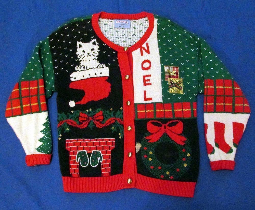 Vintage Ugly Christmas Sweater Kitten Tree Gifts Stockings Med Noel ...