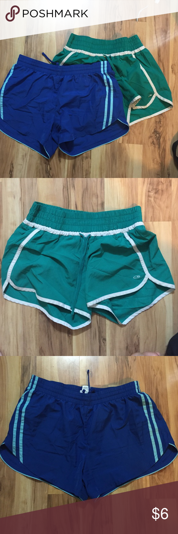 Two gym shorts! Summer sale! Selling two gym shorts! Like brand new, except the blue has a small paint stain shown on the last picture. Shorts