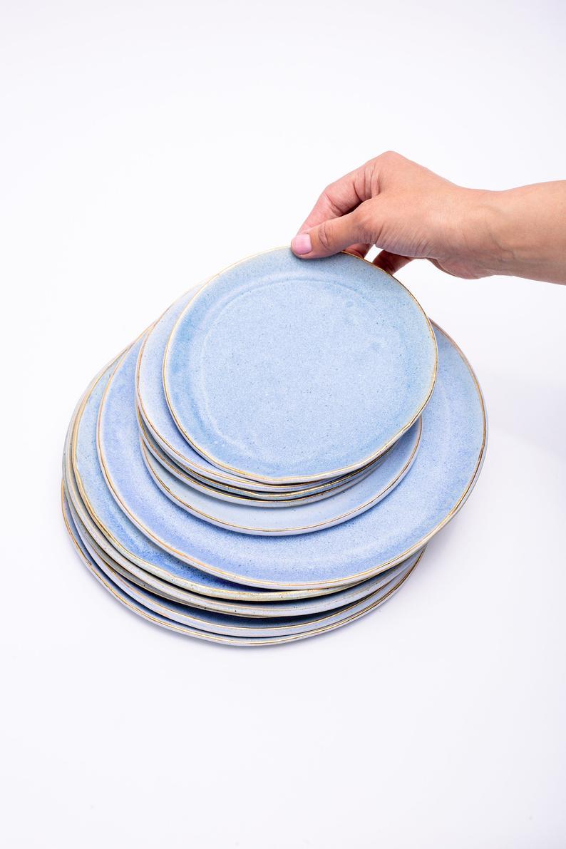 Dinnerware Set Ceramic Plates Tableware Set New Home Kitchen Gift Serving Ceramic Plate Dinner Plates Pottery Gift Set Stoneware Plates Tableware Set Dinnerware Set Ceramic Plates