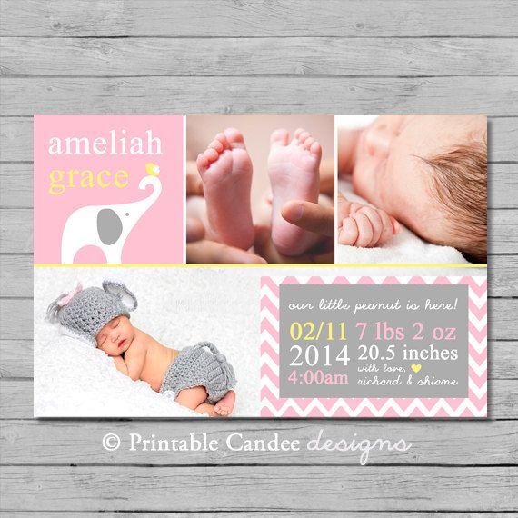Elephant Baby Girl Birth Announcement Photo Card - DIY Custom Printable on Etsy, $10.00
