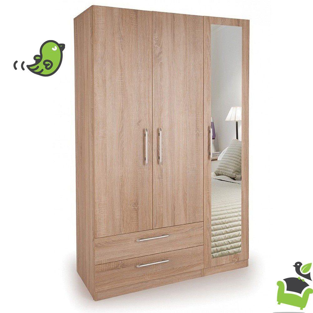 Connect Holborn 3 Door Wardrobe With 2 Drawers And Mirror Oak Bedroom Wardrobes Bedroom Wardrobe Almirah Designs Wardrobe Design