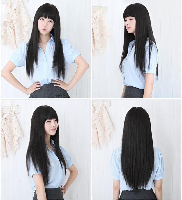 ♥ Womens Girls Fashion Long Straight Full Hair Clip Wigs Cosplay Hair Brand New | eBay ♥