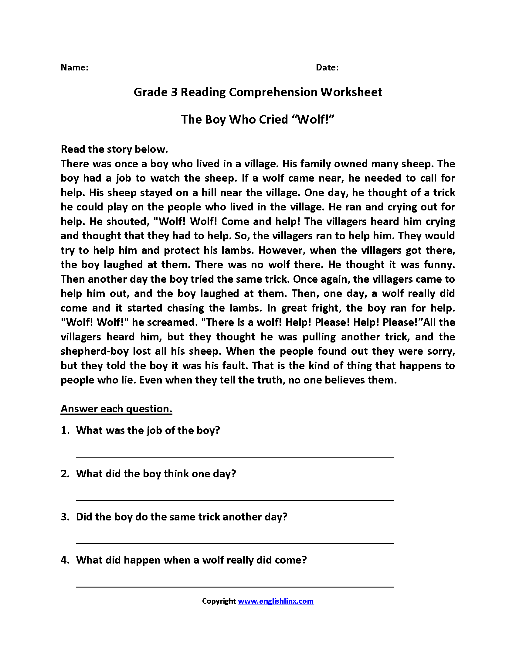 Third Grade Reading Worksheets Reading comprehension