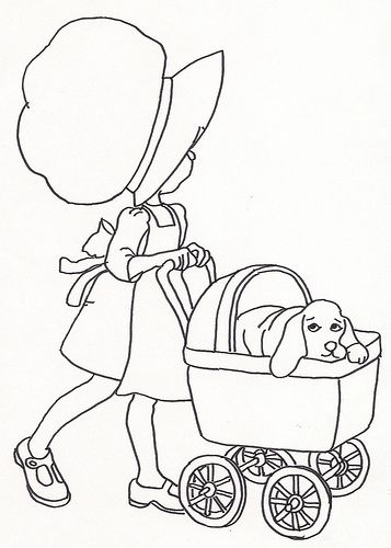 Girl W Dog In Baby Buggy Idee Broderie Motif Et Bricolage
