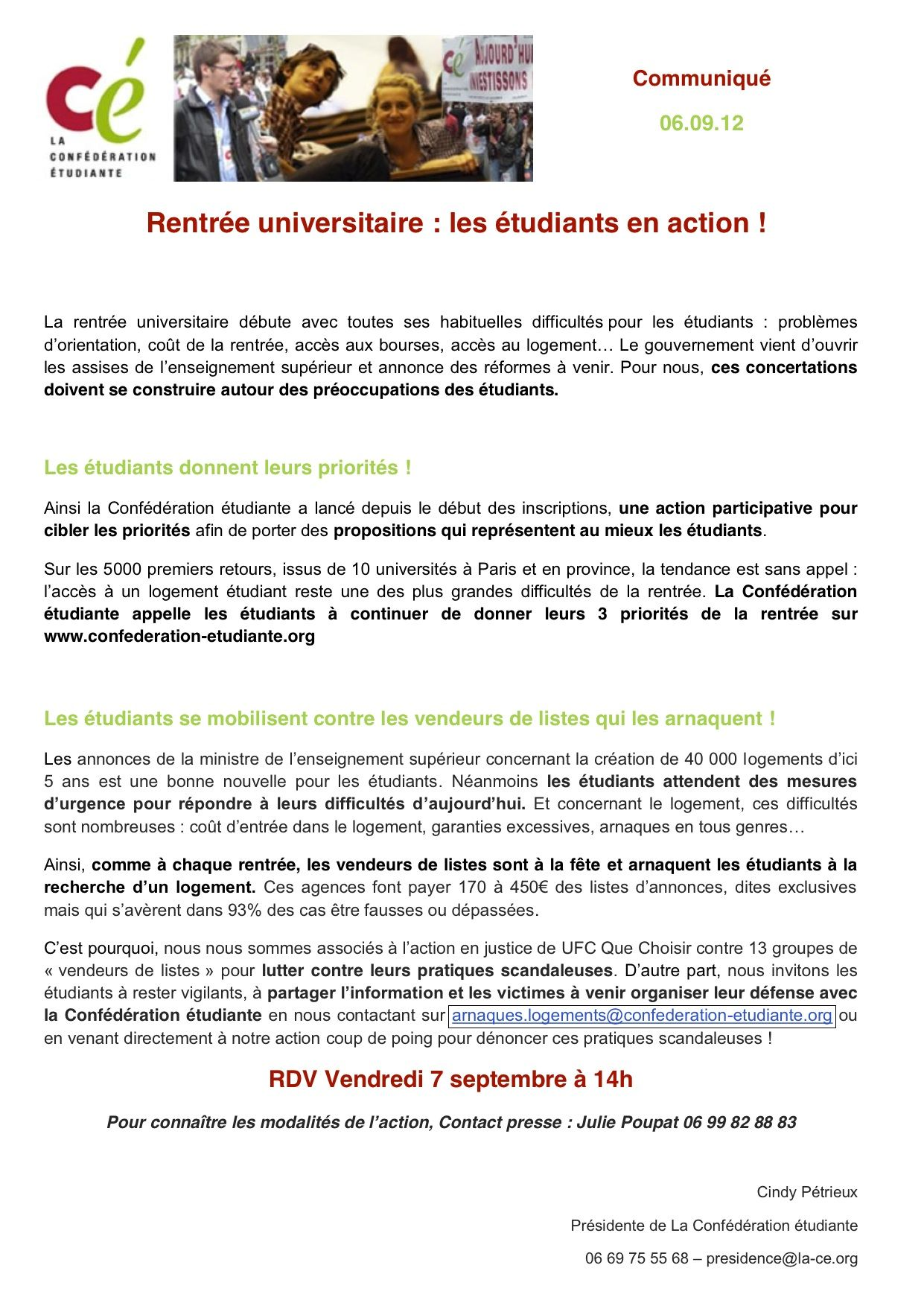 Communique De Presse Rentree Universitaire Les Etudiants En