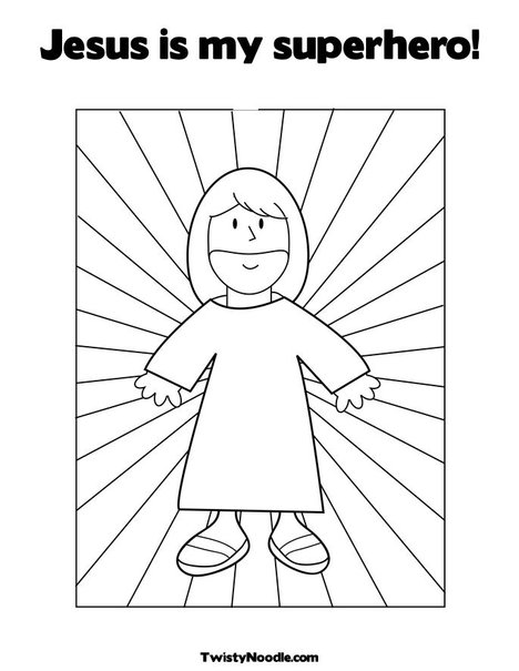 jesus super hero colouring pages