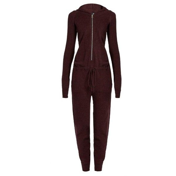 Pepper & Mayne Cashmere-knit ballet jumpsuit ($540) ❤ liked on Polyvore featuring jumpsuits, burgundy, hooded jumpsuit, red jumpsuit, burgundy jumpsuit, red jump suit and jump suit