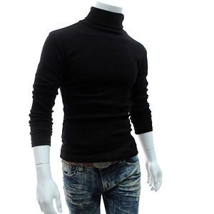 Men/'s Thermal Cotton Polo Neck Turtleneck New Stylish Sweater Stretch Shirt