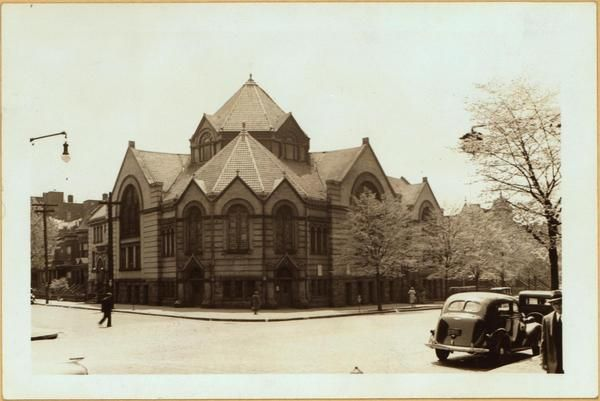 Prospect Avenue (right), at the S.E. corner of Macy Place, showing the Machtzikel Talmud Torah Torath Moses Synagogue.  April 26, 1938 P. L. Sperr.
