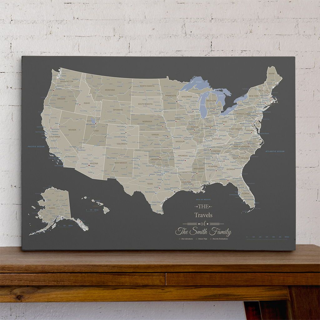 Gallery Wrapped - Earth Toned USA Travel Map with pins in