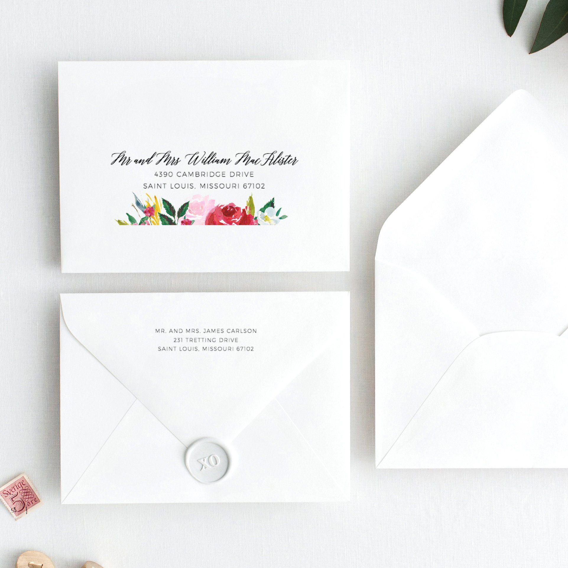 Instant Download Customisable and Printable Minimalist TEMPLETT DIY Wedding Invitation Envelope Template
