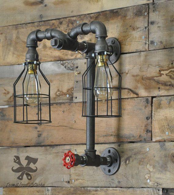 Lampe murale double vintage aries industriel - Lampe murale industrielle ...